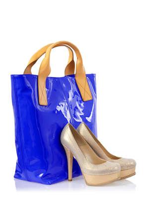 Elegant bag and shoes on white Stock Photo - 16388324
