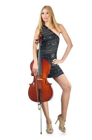 Woman performer with cello on white photo