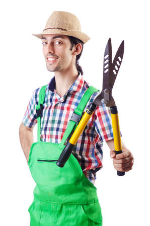 Man gardener with shears on white photo
