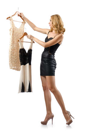 Young attractive woman trying new dresses Stock Photo - 16388275