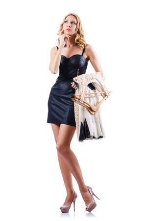 Attractive woman trying new clothing on white Stock Photo - 16388046