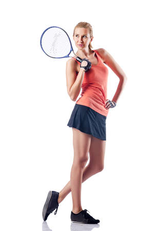 Woman playing tennis on white Stock Photo - 16491689
