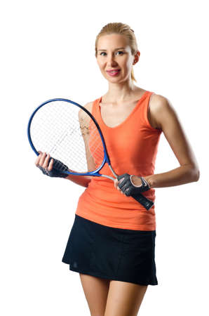 Woman tennis player on white Stock Photo - 16491690