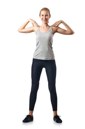 Woman doing exercises on white Stock Photo - 16491687