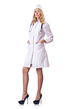 Attrative woman doctor isolated on white Stock Photo - 16491586