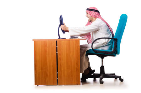 Arab businessman in business concept on white Stock Photo - 16491585