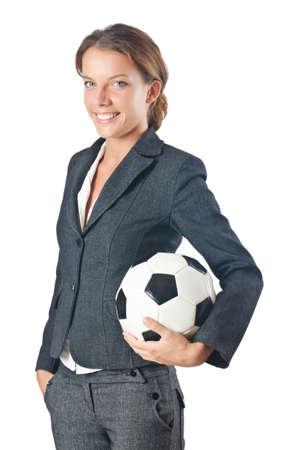 Businesswoman with football on white Stock Photo - 16491584