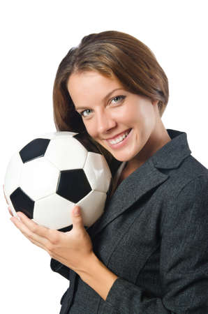 Businesswoman with football on white Stock Photo - 16491590