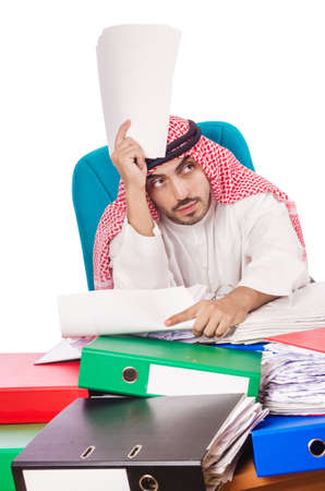 busy beard: Arab businessman in business concept on white