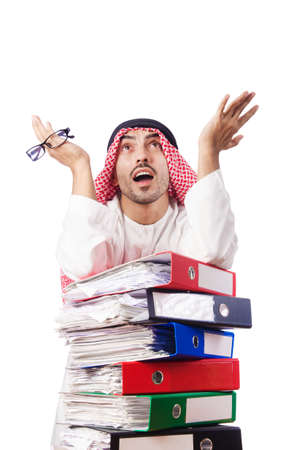 Arab businessman in business concept on white Stock Photo - 16491582