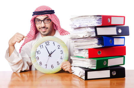 Arab businessman in business concept on white Stock Photo - 16491577