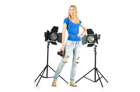 Attrative woman in photo studio Stock Photo - 16491567