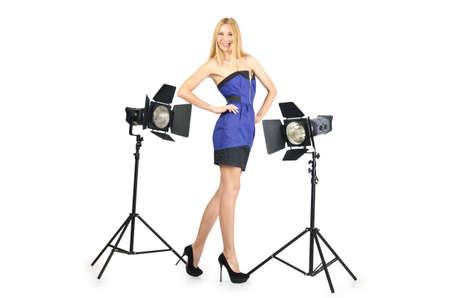 Attrative woman in photo studio Stock Photo - 16491563