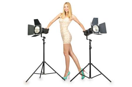 Attrative woman in photo studio Stock Photo - 16491564