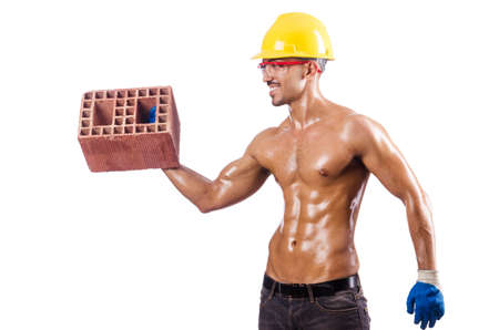 Muscular builder with bricks on white Stock Photo - 16475871