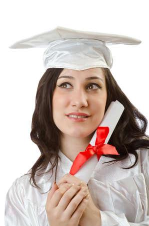 Happy student celebrating graduation on white Stock Photo - 16491560