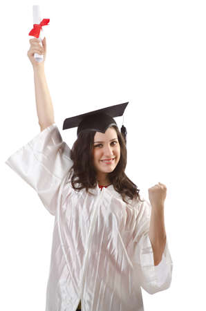Graduate with diploma on white Stock Photo - 16491556
