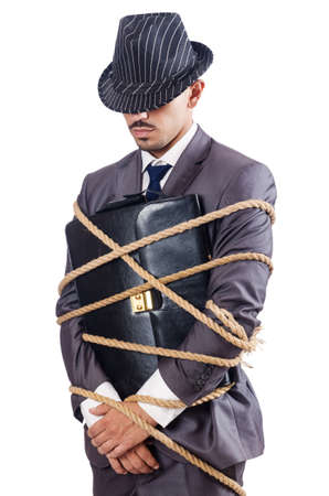 Businessman tied up with rope Stock Photo - 16476081