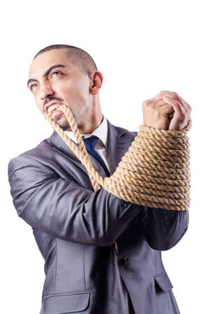 Businessman tied up with rope Stock Photo - 16483085