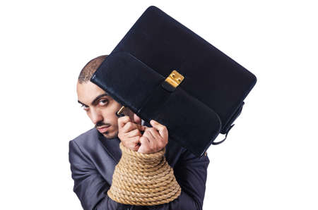 Businessman tied up with rope Stock Photo - 16476006