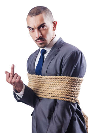 Businessman tied up with rope Stock Photo - 16483058