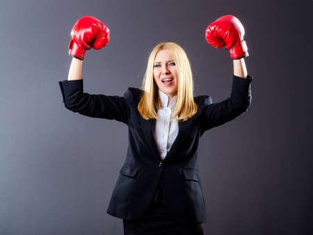 Woman boxer in dark room Stock Photo - 16476085