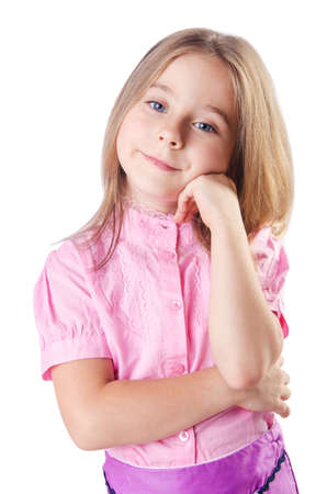 Cute little girl isolated on the white Stock Photo - 16476048