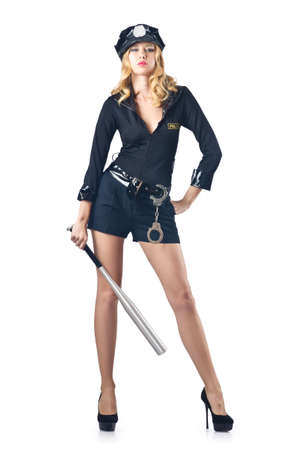 Woman police with baseball bat Stock Photo - 16475715