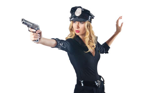 Young attractive woman police Stock Photo - 16475737