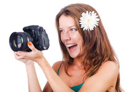 Attractive female photographer on white Stock Photo - 16483005