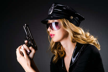 Young attractive woman police Stock Photo - 16476068