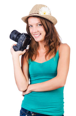 Attractive female photographer on white Stock Photo - 16476072