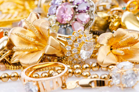 Large collection of gold jewellery Stock Photo - 16415888