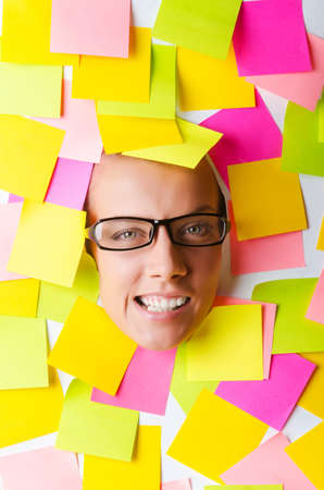 Woman with lots of reminder notes Stock Photo - 16476063