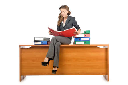 Busy businesswoman isolated on the white Stock Photo - 16475883