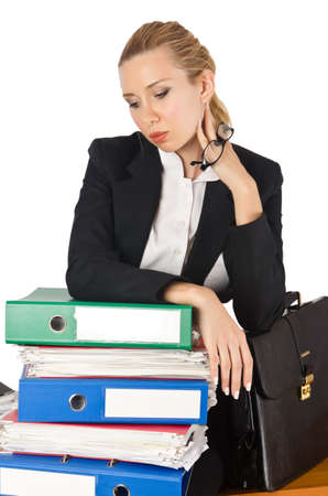 Woman with lots of work Stock Photo - 16476051