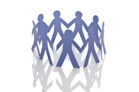 Teamwork concept with paper cut people Stock Photo - 16415055