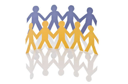 Teamwork concept with paper cut people Stock Photo - 16415046