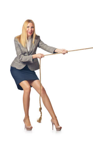 Businesswoman in tug of war concept Stock Photo - 16933979
