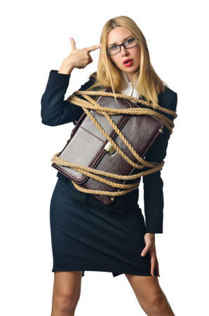 Woman in business concept on white Stock Photo - 16934259