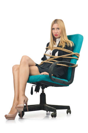 Businesswoman woman tied up with rope on white Stock Photo - 16934148