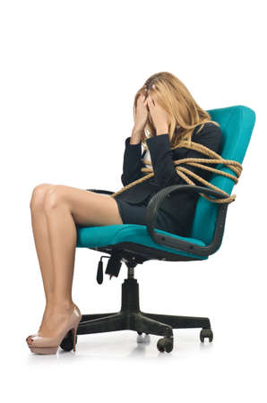 Businesswoman woman tied up with rope on white photo