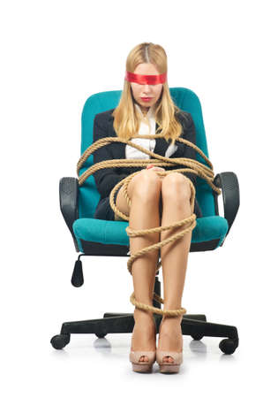 Businesswoman woman tied up with rope on white Stock Photo - 16934254