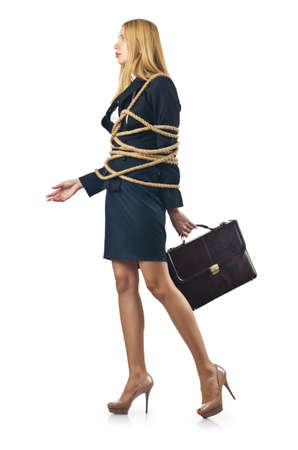 Tied woman in business concept photo