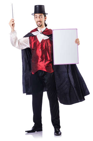 Magician with blank board on white photo