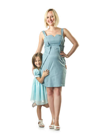 Mother with daughter isolated on white Stock Photo - 16933968