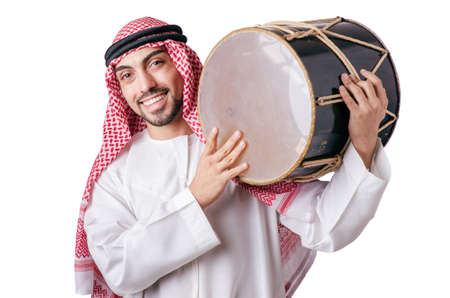 Arab man playing drum isolated on white Stock Photo - 16934125