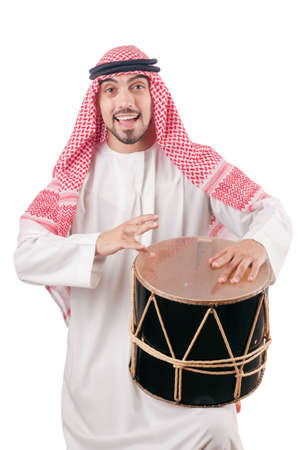 Arab man playing drum isolated on white Stock Photo - 16716335