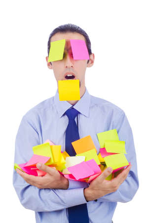 Man with lots of reminder notes Stock Photo - 16934087