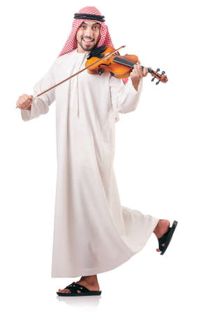 Arab man playing violin isolated on white Stock Photo - 16934105